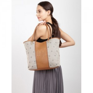 Tommy Hilfiger Taupe & Brown Printed Tote Bag
