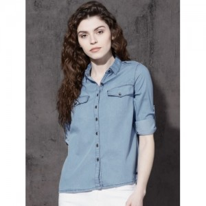 Roadster Women Blue Regular Fit Solid Chambray Casual Shirt