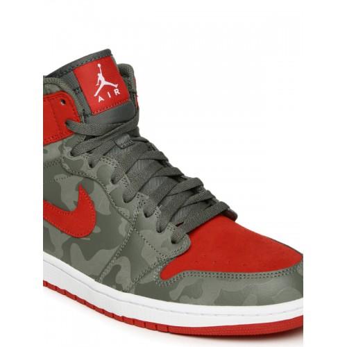 2782dc4f73aa Nike Men Grey Leather High-Top AIR JORDAN 1 RETRO Basketball Shoes ...