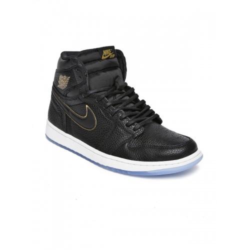 663e5ed61b31 ... Nike Men Black Leather High-Top AIR JORDAN 1 RETRO Basketball Shoes ...