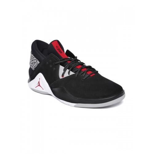 14bb57398fd5 ... Nike Men Black JORDAN FLIGHT FRESH PREM Suede Mid-Top Basketball Shoes  ...