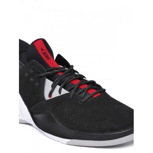 2a0352fba0f Nike Men Black JORDAN FLIGHT FRESH PREM Suede Mid-Top Basketball Shoes ...