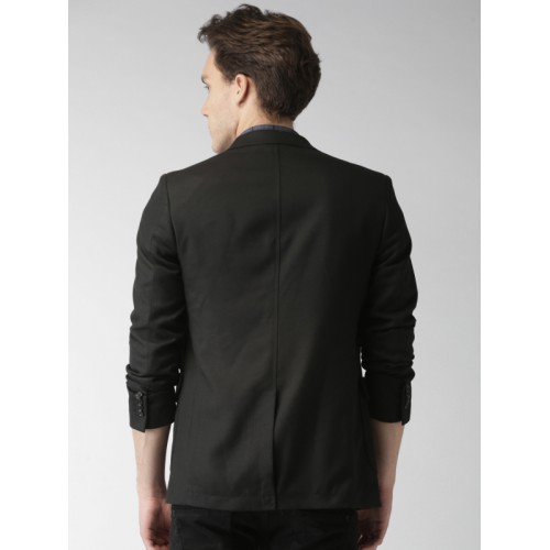 Mast & Harbour Black Regular Fit Single-Breasted Casual Blazer