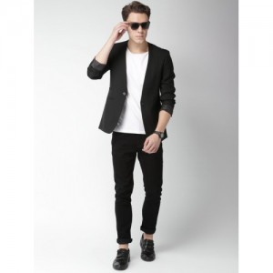 Mast & Harbour Black Regular Fit Single-Breasted Formal Blazer