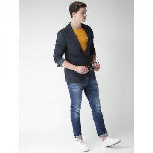 Mast & Harbour Navy Striped Regular Fit Single-Breasted Smart Casual Blazer
