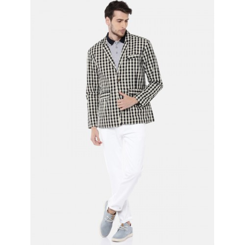 FIFTY TWO Off-White & Black Checked Single-Breasted Casual Blazer