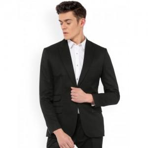 MR BUTTON Black Micro Window Slim Fit Single Breasted Blazer