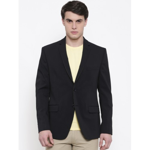 Theme Men Black Single-Breasted Super Slim Fit Formal Blazer