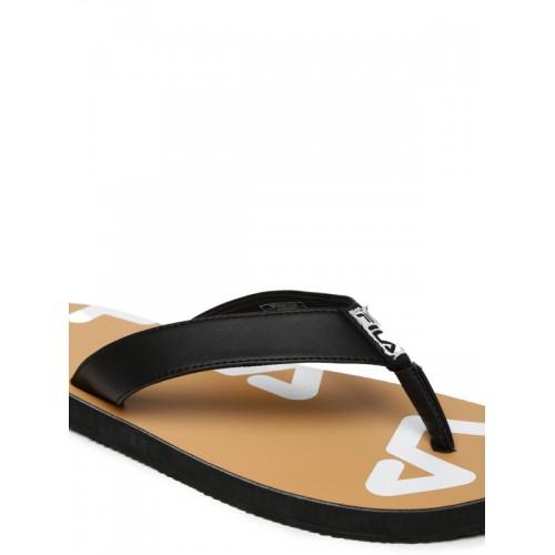 FILA Black & Brown Printed Spread Flip-Flops
