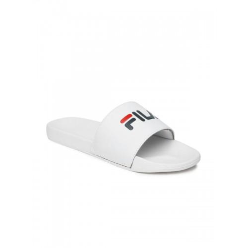 19a3fda872fed Buy FILA White Rubber Slip-On Slide Flip-Flops online