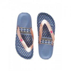 Flipside Women Pink & Blue Printed Thong Flip-Flops