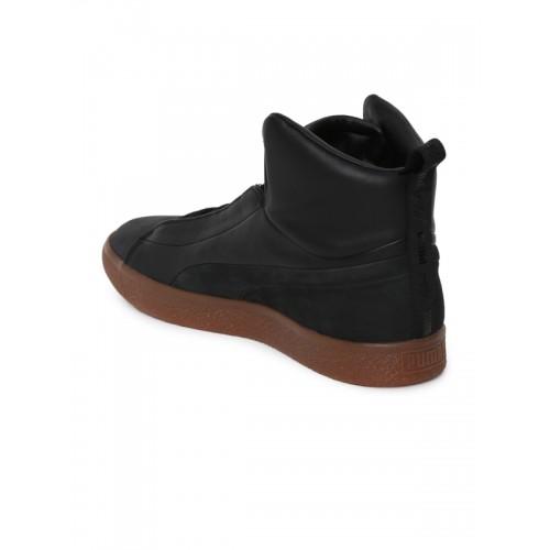 huge discount d1259 248ca Buy Puma Unisex Black Clyde FSHN Mid NATUREL Leather ...