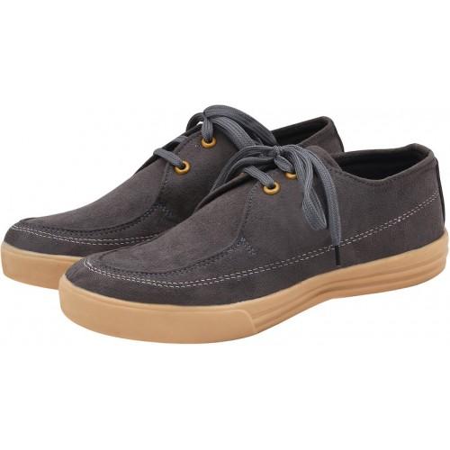 Butchi Men's Gray Suede Casual Shoes