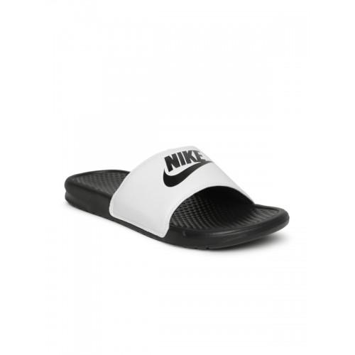 get cheap 65532 fdd0c ... Nike Men White   Black BENASSI JDI Printed Flip-Flops ...