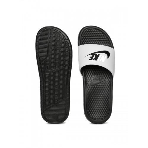 Nike Men White & Black BENASSI JDI Printed Flip-Flops