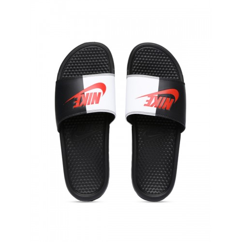 d0200c237ee0 ... Nike Men Black   White Colourblocked BENASSI JDI Slip-On Flip Flops ...