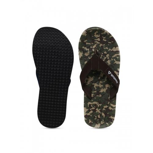Reebok Olive Green & Brown Camouflage Print Thong Flip-Flops