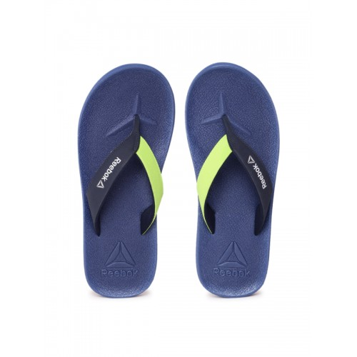 4e5443aa6440a Buy Reebok Navy   Green Adventure Colourblocked Flip-Flops online ...