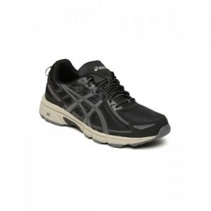 ASICS Black & Grey GEL-VENTURE 6 Mesh Running Shoes