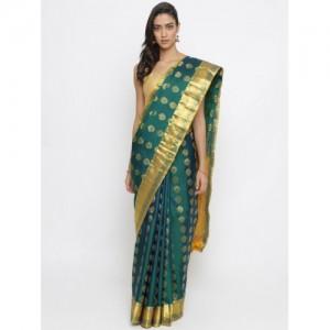 The Chennai Silks Classicate Green Pure Silk Woven Design Kanjeevaram Saree