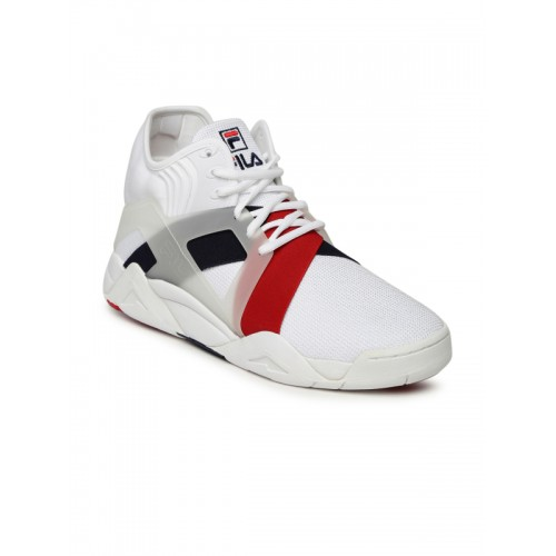 9b5bc6b537f3 Buy FILA Men White THE CAGE 17 LOGO Mid-Top Sneakers online ...