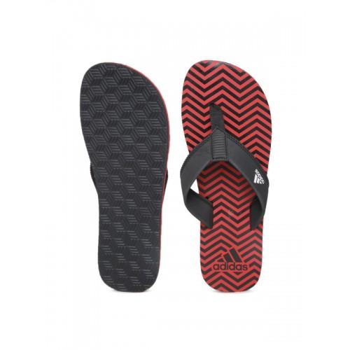Adidas Men Black & Red Inert Chevron Print Flip-Flops