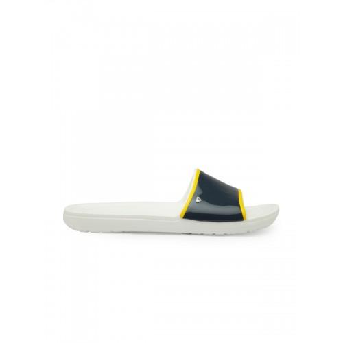 Crocs Women Navy Blue & White Solid Sliders