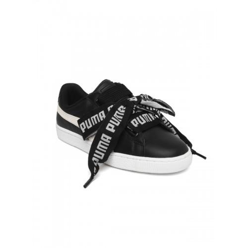 8b6dac455606a8 Buy Puma Women Black Basket Heart DE Leather Sneakers online ...