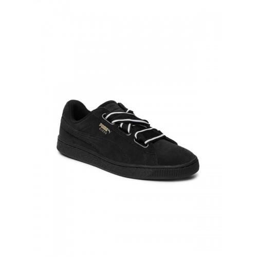 save off 87721 0bbda Buy Puma Women Black Suede Heart Satin II Sneakers online ...