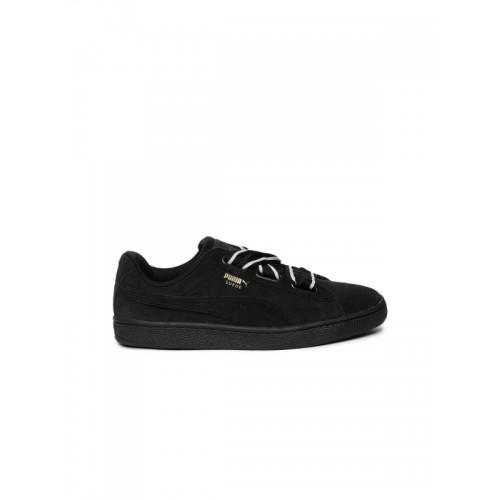 save off e3272 ead1b Buy Puma Women Black Suede Heart Satin II Sneakers online ...