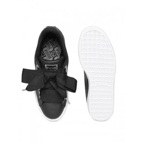save off 52cee 66260 Buy Puma Women Black Basket Heart Oceanaire Leather Sneakers ...