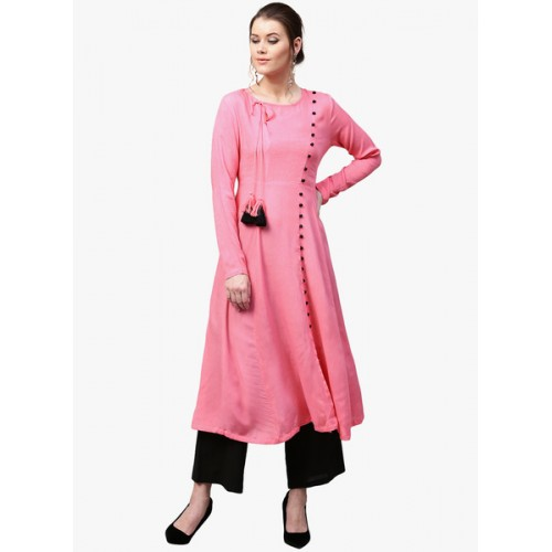 SASSAFRAS Pink Solid A-Line Kurta