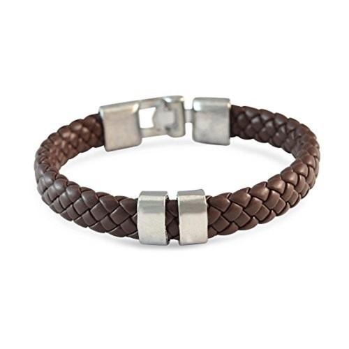 Sarah Brown Braided Leather Bracelet for Men