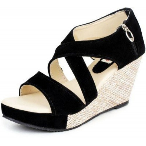 Kanchan Black Heel Wedges Cross Sandal With Zip
