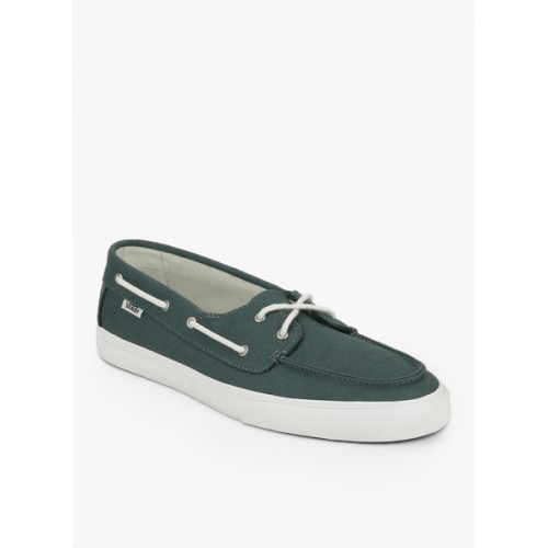 1445326329 Buy Vans Green Canvas Lace-Up Boat Shoes online