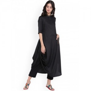 9rasa Women Black Solid Cowl Kurta