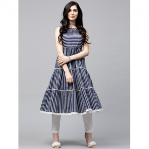 AKS Navy & White Striped Anarkali Kurta