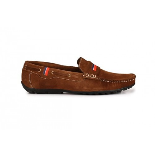 ZebX Men Brown Suede Leather Loafers