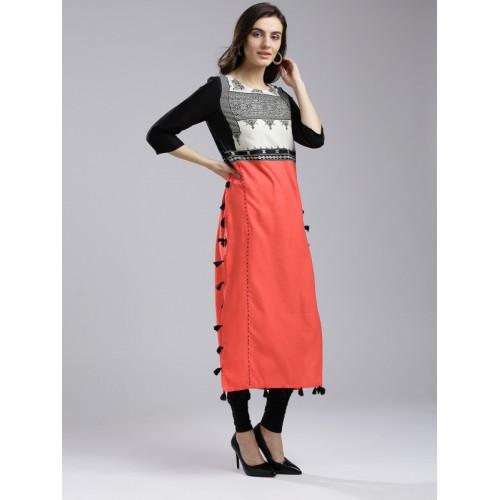 W Women Coral Red & Black Printed Straight Kurta