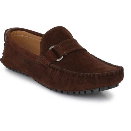 ZebX Brown Suede Leather Casual Shoes