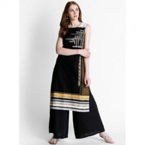 Rangmanch By Pantaloons Black Printed Kurta