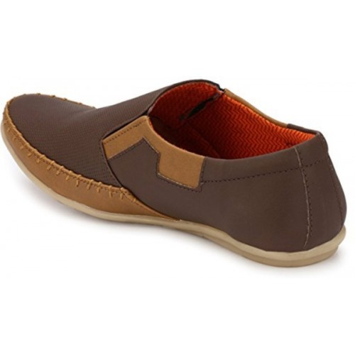 Adiso Brown Synthetic Leather Slip On Loafers For Men