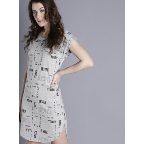 Kook N Keech Kook N Keech Women Grey Melange Printed T-shirt Dress