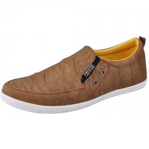 Fausto Beige Synthteic Mens Casual Loafers Shoes