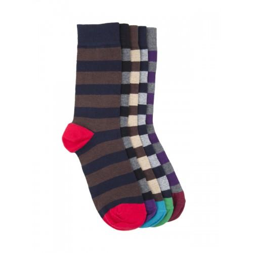 f44d7627985 Buy Tossido Men Set of 5 Striped Above Ankle-Length Socks online ...