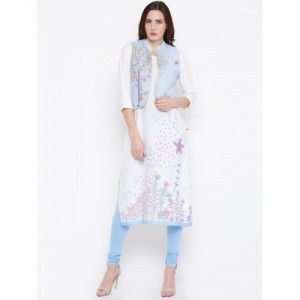 Biba Off White Printed Kurta With Ethnic Jacket