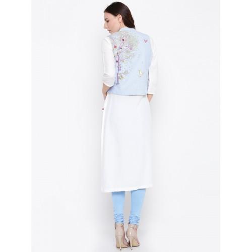 Biba Off White Printed Kurta With Ethnic Jacket