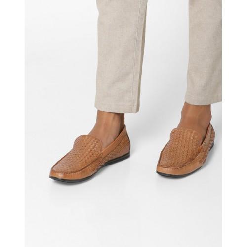 d846b6d48c4a21 Buy ALBERTO TORRESI Genuine Leather Basket-Weave Slip-On Shoes ...