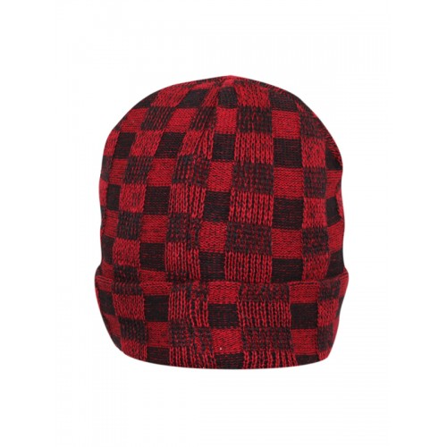bf1ff0858 Buy FabSeasons Unisex Red Self Design Beanie online | Looksgud.in