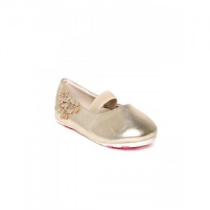 Fame Forever by Lifestyle Girls Gold-Toned Applique Ballerinas